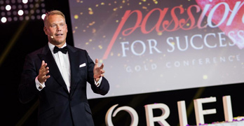 Magnus Brannstrom, CEO of Oriflame at a conference.